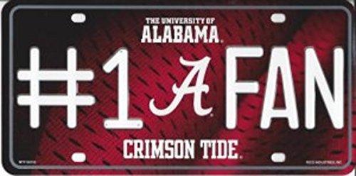 NCAA Alabama Crimson Tide #1 Fan Metal Auto Tag, 12