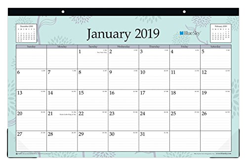 Blue Sky 2019 Monthly Desk Pad Calendar, Ruled Blocks, 17
