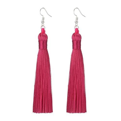 Charms Boho Silk Thread Long Tassel Dangle Drop Fringe Earrings Fabric Vintage Eardrop (Rose)