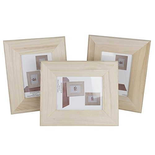 Unfinished Solid Wood Photo Picture Frames 5 by 7 Inches  Ready To Paint for DIY Projects Set of 3