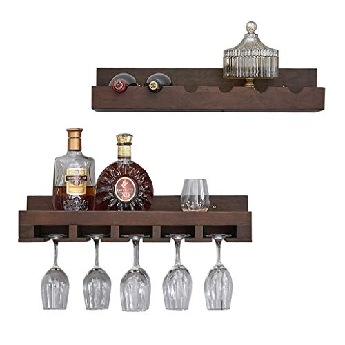 LDG Wine Shelf Wall, Solid Oak Wine Bottle Glass Rack Hanging Goblet Storage Unit Floating Shelves Countertop Decoration