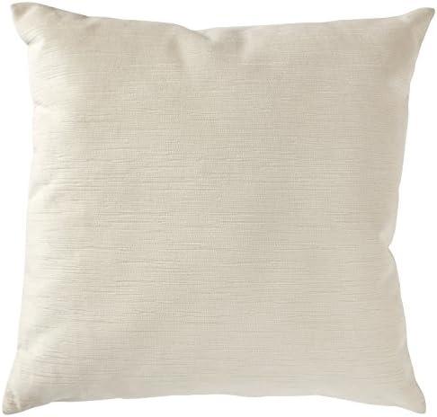 Amazon Brand Stone Beam Striated Velvet Linen-Look Decorative Throw Pillow, 17 x 17 , Vanilla