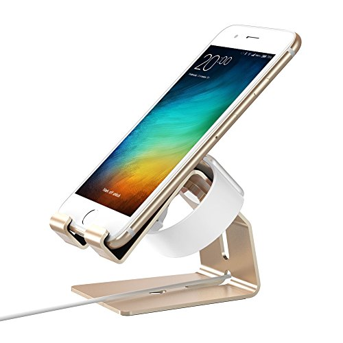 Price comparison product image Phone Stand, Stand for Apple Watch, Magnetic Apple Watch Stand, Cell Phone iPhone Tablet Stand for iPhone X 8 Plus 7 Plus 8 7 SE 5C 6 6 Plus iPad Mini iPad, Apple Watch, Android, PS4 OATSBASFGold