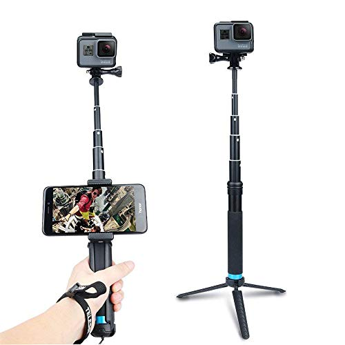 AnKooK Waterproof Selfie Stick Aluminum Alloy Hand Grip Telescopic Handheld Monopod for GoPro Hero 6/5/ Hero 4/3+, iPhone 7/7 Plus / 6s Plus / 6, Samsung Galaxy S8 Edge S7 S6 and Smartphones