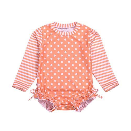 AIEason Baby Girl Sunscreen Long Sleeve Stripe Dot Printing One-Piece Swimsuit with Zipper Beach Swimsuit Ruffled Swimsuit Orange