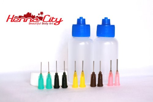 1 oz Applicator bottles – Qty 2, 10 tips from Henna City