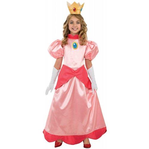 Super Mario Brothers Child's Deluxe Costume, Princess Peach Costume-Small (Mario Luigi Princess Costumes)