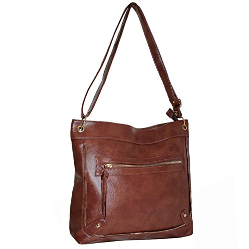 Shoulder Bags for Girls with Over for Cross Book Women cm Strap Compartment Handbag Xardi 130 with Body School Adjustable Dark Ladies Faux the Brown Bag London Long Leather qItwWZ8