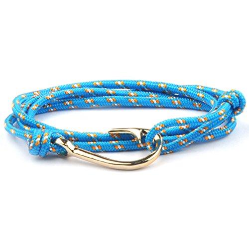 SWEETIE 8 Unisex Men's Women's Gold Fish Hook Rope Wrap Bracelet - Blue