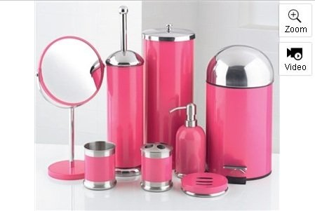 Charmant 8 Piece Bathroom Accessories Set (Pink)