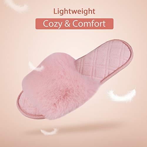 LongBay Women's Fuzzy Faux Fur Memroy Foam Flat Spa Slide Slippers Open Toe House Shoes Sandals