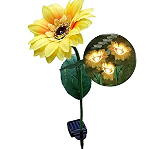 Elstey Solar Lights Rose Flower with Red Buds, Solar Powered Outdoor Waterproof LED Lamps Garden Landscape Decoration Illumination 4