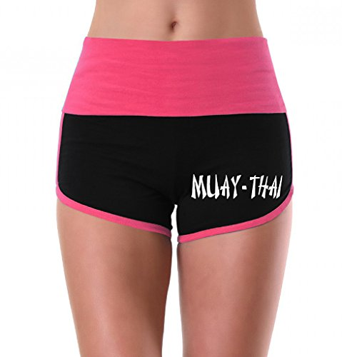 Women's Muay Thai Fighter V442 Pink/Black Athletic Workout Yoga Shorts Small