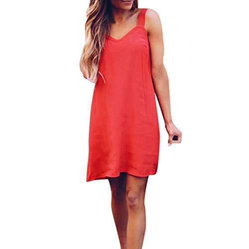 Mini Dress, Women Franterd Womens Spaghetti Strap Sleeveless Solid Sling Beach Sheath Short Dress (L, (Sheath Sling)