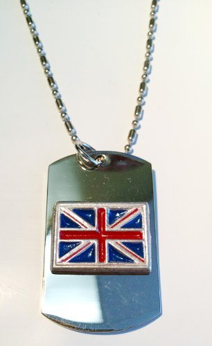 Great Britain Uk Union Jack Flag Hand Painted Pewter Emblem Logo Symbols - Military Dog Tag Luggage Tag Key Chain Metal Chain Necklace -