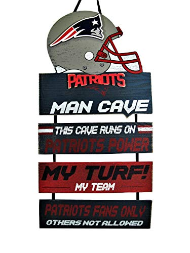 (Forever Collectibles NFL New England Patriots Wood SignMan Cave Design, Team Colors, One Size)