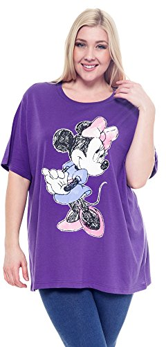 Disney-Plus-Size-T-shirt-Minnie-Mouse-Sketch-Print-Purple