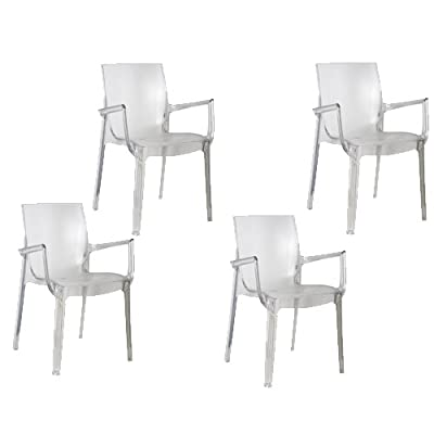 Tensai Iris Collection Narrow Square Back Durable Plastic Chairs - Transparent - Set of 4 - Chair Measures 20-Inches x 22-Inches x 33-Inches and Weighs 11 Lbs. (No Assembly Required) Capable of withstanding Everyday Wear and Tear and is Ideal for Kitchens, Patios, Children's Rooms, and Dens. This chair has a Glossy Finish along the Edges that makes it a Modern Take on a Classic Piece of Furniture. - kitchen-dining-room-furniture, kitchen-dining-room, kitchen-dining-room-chairs - 41Sm6GgIZGL. SS400  -