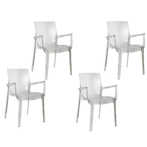 Tensai Iris Collection Narrow Square Back Durable Plastic  Chairs - Transparent - Set of 4 (Plastic Patio Arm Chair)