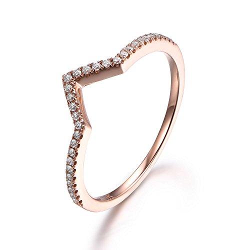 Amazoncom V Shaped Diamond Wedding RingCurved Band14K Rose gold