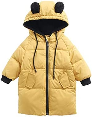 Jingle Bongala Kids Boys Girls Winter Down Puffer Coats Long Parka Coats Ears Hooded Jackets