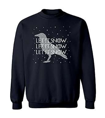 "Christmas Game of Thrones Inspired ""Let It Snow"" Graphic Design Crew Neck Sweatshirt - Small (Black)"