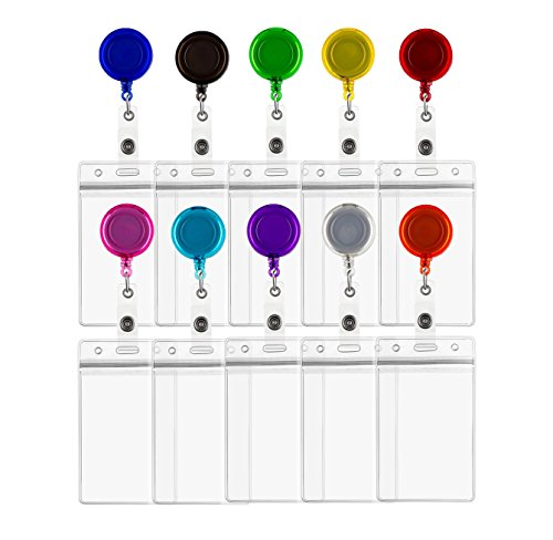 (ljdeals Retractable Badge Holder Reel ID Card Holders with Vertical, Vinyl ID Badge Holders, Assorted Colors, 10 Pack)