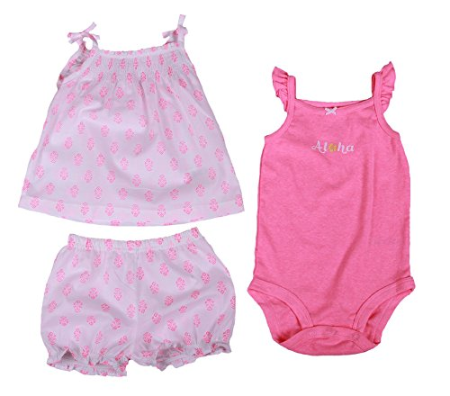 Carter's Baby Girl 3 Pc Aloha Diaper Cover Set (24 Month, Pink/White) ()
