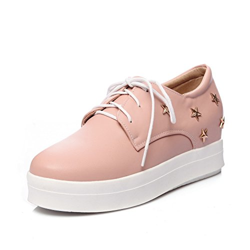 Balamasa Womens Bandage Oeillets Plate-forme Uréthane Appartements Chaussures Rose