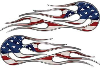 Weston Ink Hot Rod Classic Car Style Flame Graphics with Silver Outline with American Flag