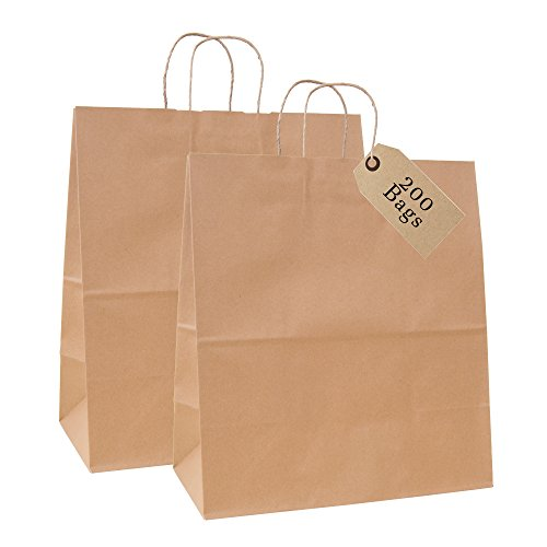 Incredible Packaging - 18'' x 7'' x 18'' Jumbo Kraft Paper Bags with Handles for Shopping, Retail and Merchandise. Strong and Reusable - 80 Paper Thickness- 100% Recycled (200, Brown) by Incredible Packaging