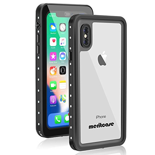 iPhone X Waterproof Case, Meritcase IP68 iPhone X Wireless Charging Supported Full Body Protective Snowproof Dustproof Shockproof Case with Kickstand for Snowmobile Swimming Diving Clear (5.8in - Glass Repairing Scratched