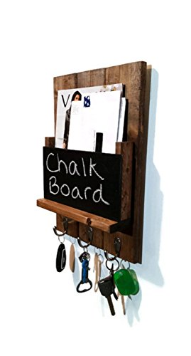 Renewed Décor Sydney Mail Organizer with Chalkboard featuring 3 key hooks, single mail slot with a rustic design available in 20 Stains