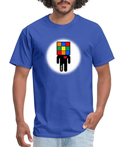 Spreadshirt Rubik's Cube Man Icon Cube Head Men's T-Shirt, 2XL, Royal - Icon Rubiks
