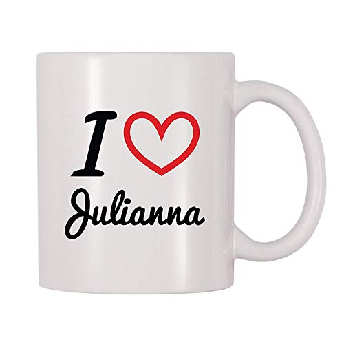 I Love Julianna Personalized Name Coffee Mug (11 oz)