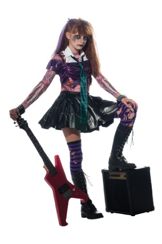 Punk Halloween Costumes For Girls (Girl Zombie Punk Rocker #2 Costume, Medium)