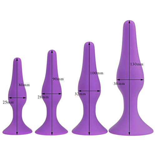 4 Sizes Soft Silicone Anal Plug with Suction Cup Anal Beads Butt Plug Anal Dilator No Vibrator Sex Toys for Women/Men Small(25x80mm)