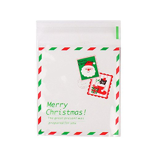 100 Piezas Bolsa de Galletas de Navidad, Auto-Adhesivo Feliz Navidad Cookie Candy Merienda Paquete Regalo Bolsas (3,9 x 4,3...