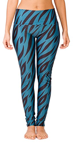 Limber Stretch Women's Printed Yoga Pants, High Waisted Long Full Length Workout and Running Leggings - Animal Patterned Bands