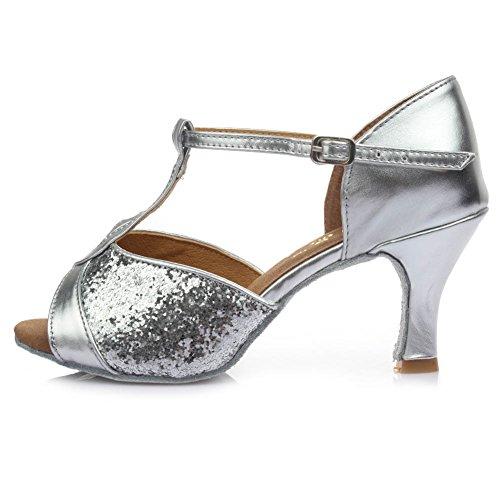 HROYL femenino ES7-F59 sat¨ªn latino la danza el zapato 7CM Plateado