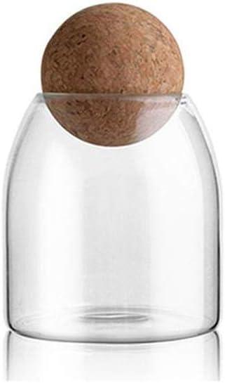 SUQIAOQIAO 2PC 1200ML / 800Ml / 500Ml De La Cocina De Cristal del Tanque De Almacenamiento De Botellas De Borosilicato Sellados Latas Vidrio, Alimentos Granos Contenedor con Corcho,S
