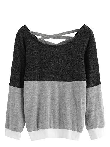 Romwe Women's Long Sleeve Colorblock Criss Cross Sweater Pullover Top Multicolor M