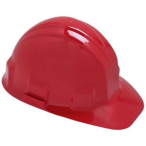 Jackson Safety Sentry III Hard Hat (14418), 6-Point Ratchet Suspension, Low Profile Safety Cap, Red, 12 / Case