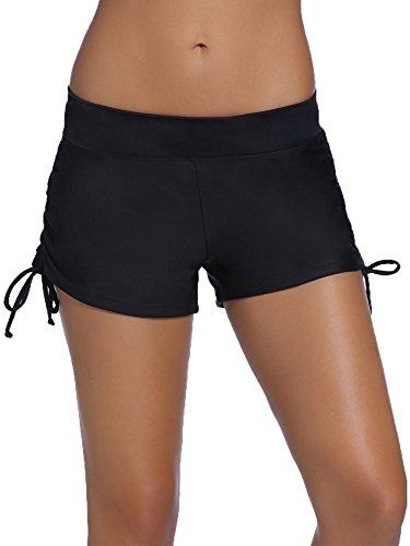 Hestya Women's Swim Shorts Solid Swimsuit Bottoms Quick Dry Swim Board Shorts With Adjustable Ties, Black, S - XXXL (Swim Tie)