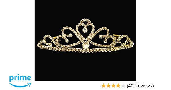 991ec1d3576092 Amazon.com: SC Gold Bridal Wedding Tiara With Heart and Round Crystal Drop  60695: Beauty