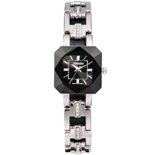 Time100 Women's WatchesBracelet Diamond Oval Dial Ladies Fashion Dress Wrist watch (Black)