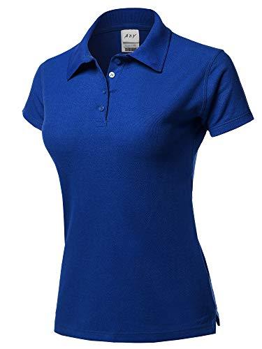 A2Y Basic Casual 4-Button Junior-Fit PK Cotton Pique Polo Shirt Royal Blue - Royal Blue Polo Pique