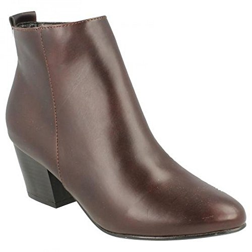 Ladies On Ankle Spot Burgundy Heeled Pu Boots PB6PqT