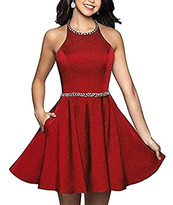 Womens Halter Short Homecoming Dresses Beading Satin Backless Prom Dress with Pocket at Amazon Womens Clothing store: