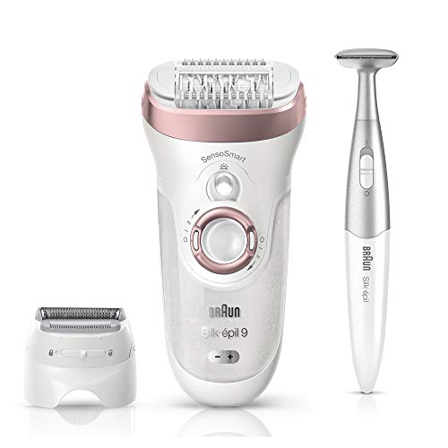 Braun Epilator, Hair Removal for Women, Series 9-890 Silk-Epil Sensosmart Epilator with Shaver and Face / Bikini Trimmer (Philips Epilator Sensitive)
